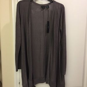 Tahari Long Sleeve Open Cardigan 100% Linen